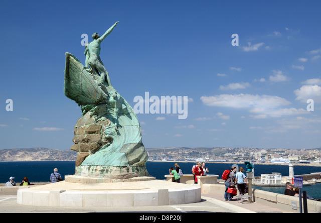 Sailors Monument Palais du Pharo Gardens Marseille - Stock Image