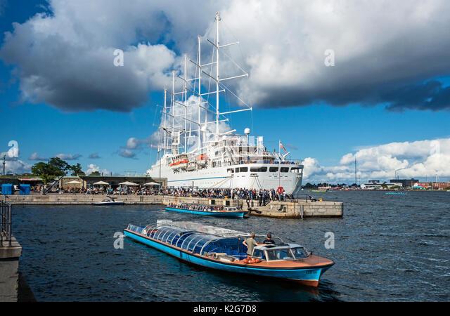 Windstars sailing cruise ship Wind Surf moored at Nordre Toldbod during Kulturhavn (Culture Harbour) Festival  Copenhagen - Stock Image