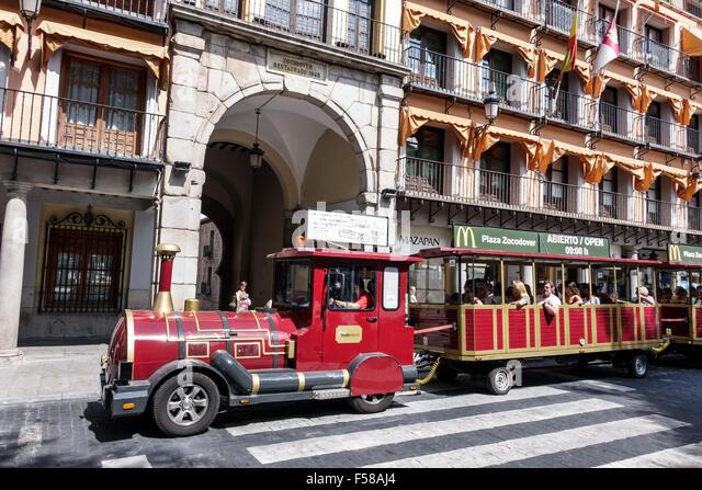 Spain Europe Spanish Toledo World Heritage Site historic district Plaza Zocodover Square Zocotren train - Stock Image