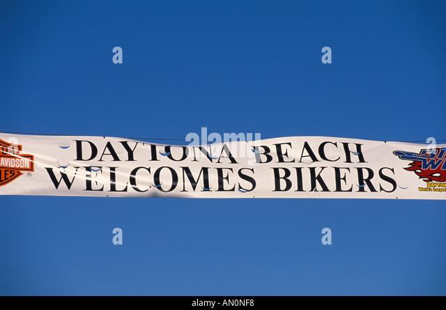 Daytona Beach Florida fl bike week welcome banner blue sky - Stock Image