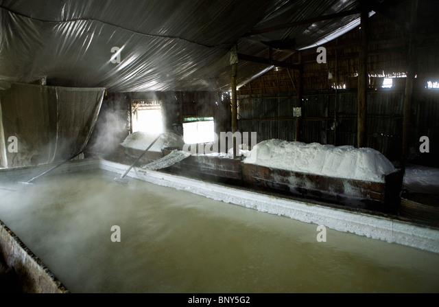 Artisanal salt production, Phong Hoa Village, Bac lieu province, Mekong Delta Region, Vietnam - Stock Image
