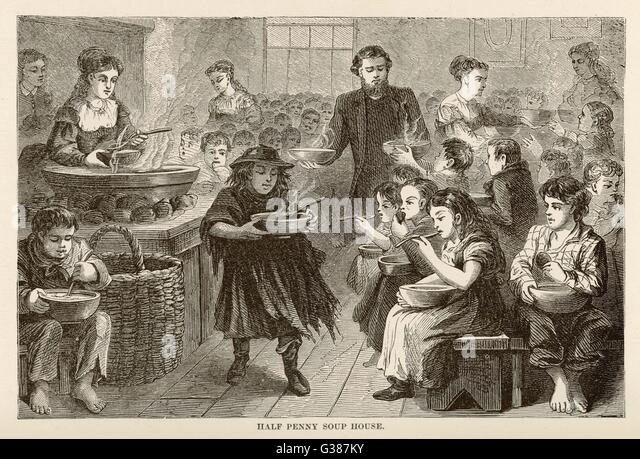 Half-penny soup house in  London          Date: 1870 - Stock Image