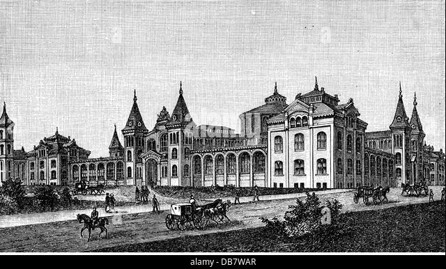 geography travel USA Washington D.C. museums Smithsonian Institution exterior view wood engraving late 19th century - Stock Image