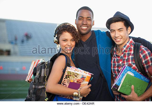 Three students, portrait - Stock-Bilder