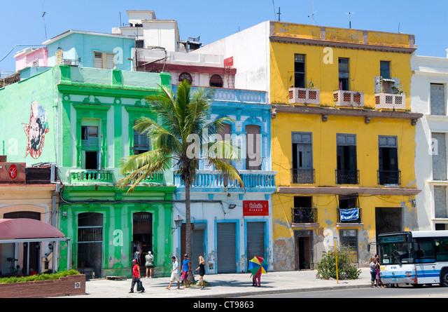 Colourful building, La Havana, Cuba - Stock Image