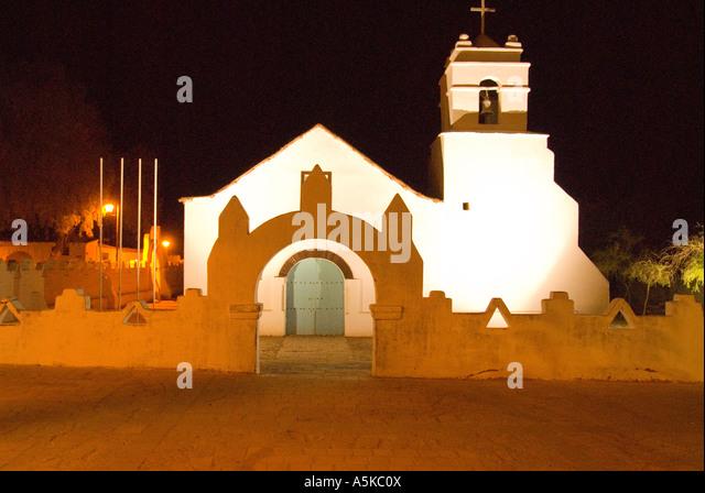Chile San Pedro de Atacama cathedral at night - Stock Image