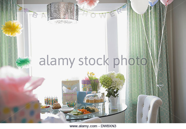 Home decorated for baby shower - Stock-Bilder
