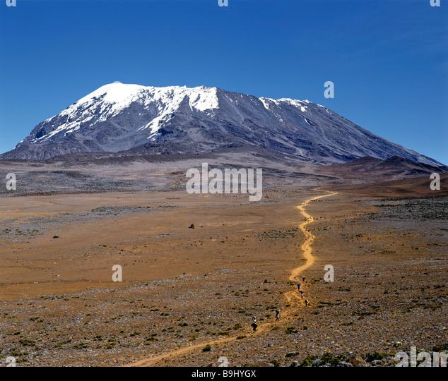 Path to Mount Kilimanjaro, Kilimanjaro National Park, UNESCO World Heritage Site, stratovolcano, Tanzania, East - Stock-Bilder