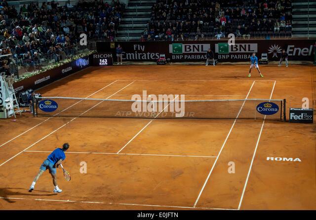 Rome, Italy. 14th May, 2014. Rafael Nadal vs Gilles Simon in Rome International Tennis Masters - Stock Image