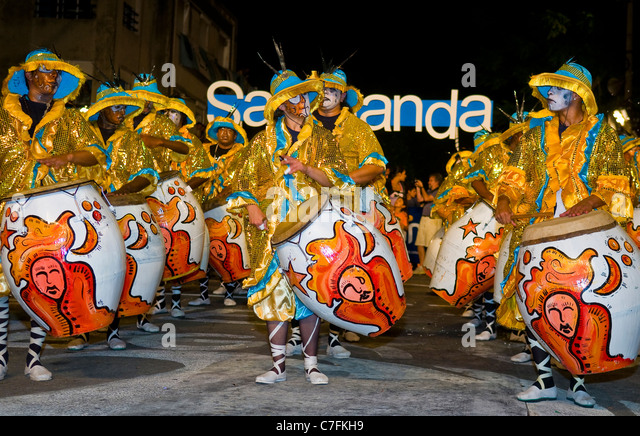 Unidentified Candombe drummers in the Montevideo annual Carnaval in Montevideo Uruguay - Stock Image