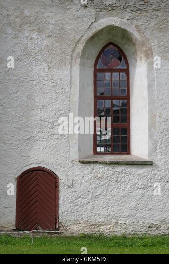 Window detail. Mihkli Church in Pärnu County. Estonia Baltic States EU - Stock Image