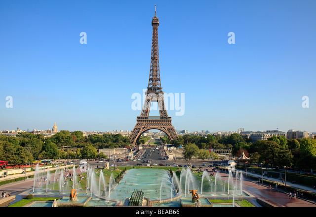Eiffel Tower Paris and Trocadero Gardens, France - Stock Image