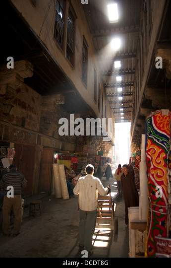 Street of the Tent-Makers, Khan al Khalili market, Cairo, Egypt - Stock Image