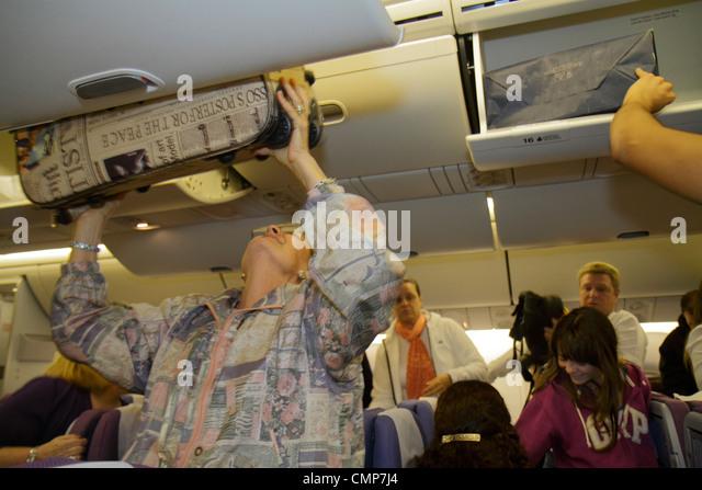 Lima Peru onboard LAN flight 2515 from Miami Jorge Chávez International Airport LIM aviation jet aircraft cabin - Stock Image