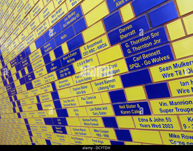 Angled view of Brian Bevan bricks face at Warrington Wolves Rugby Stadium, Cheshire England UK - Stock Image