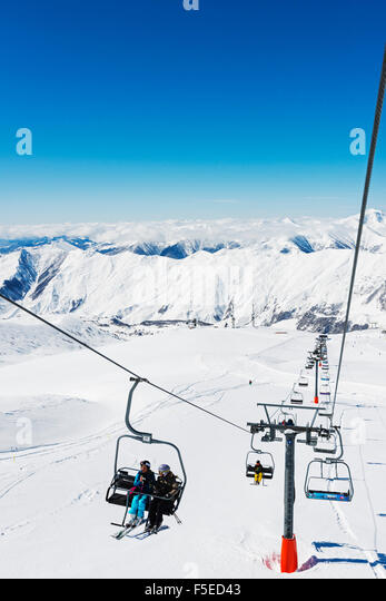 Ski lift, Gudauri ski resort, Georgia, Caucasus region, Central Asia, Asia - Stock Image