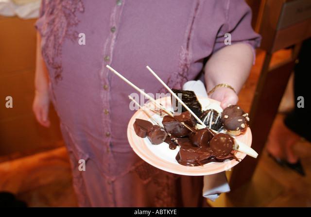 Puerto Rico Atlantic Ocean Holland America Line ms Noordam Lido Restaurant Chocolate Extravaganza dessert plate - Stock Image