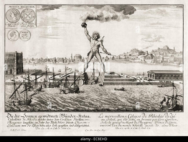 Colossus of Rhodes, one of the Seven Wonders of the Ancient World. See description for more information. - Stock Image