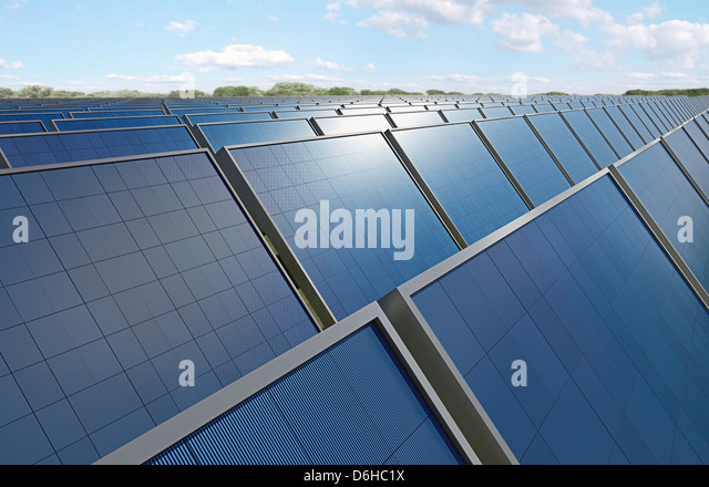 Solar panels, artwork - Stock Image