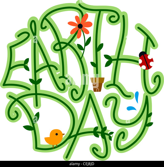 Illustration of Vines Forming the Word Earth Day - Stock Image