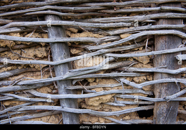 Urban textures - wattle and mud wall . - Stock Image