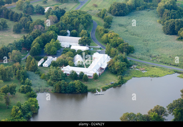 Aerial of farm land on the Chesapeake Bay on the Eastern Shore, Maryland - Stock Image