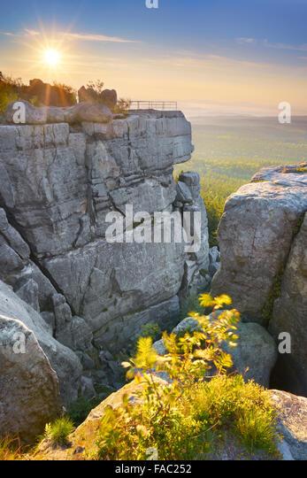 Szczeliniec Wielki at sunset - Table Mountains, Poland - Stock Image
