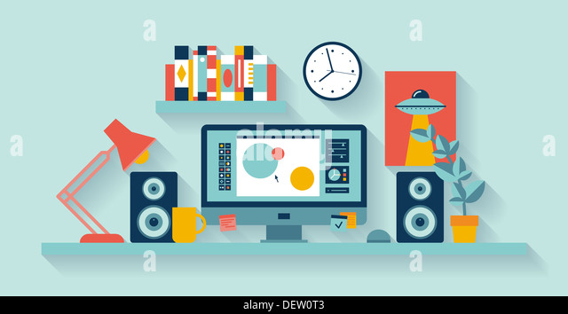 Illustration of modern office interior with designer desktop showing design application creative process - Stock-Bilder