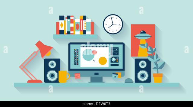 Illustration of modern office interior with designer desktop showing design application creative process - Stock Image