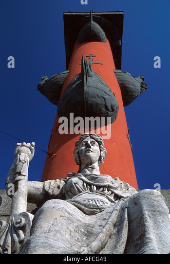 Russia former Soviet Union St. Petersburg Rostral Column commemorates naval victories - Stock Image