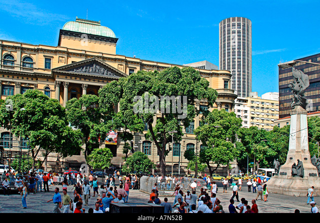 Rio de Janeiro Praca Floriano crowded square in the center people - Stock Image