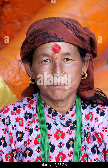 Nepal pictures of people - Nepalese people - Stock Image