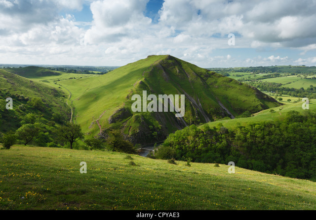 View towards Thorpe Cloud in Dovedale. Peak District National Park. Derbyshire. England. UK. - Stock Image