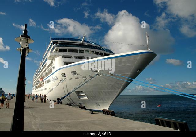 St Kitts Caribbean Cruise Ship docked at  Port Zante - Stock Image