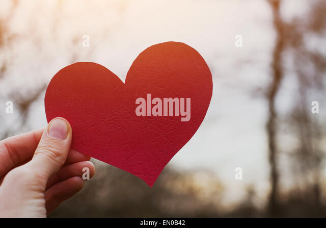 valentines day card, hand holding heart - Stock Image