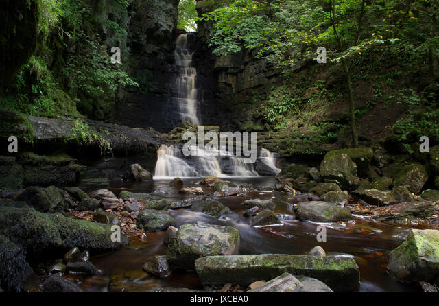 Mill Gill Force Waterfall outside the village of Askrigg near Hawes in the Yorkshire Dales National Park, North - Stock Image