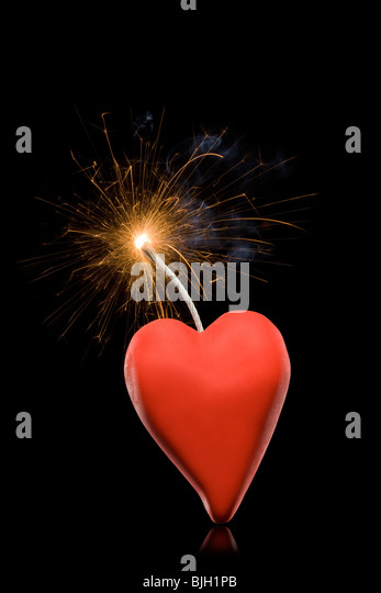 heart with a lit fuse - Stock Image
