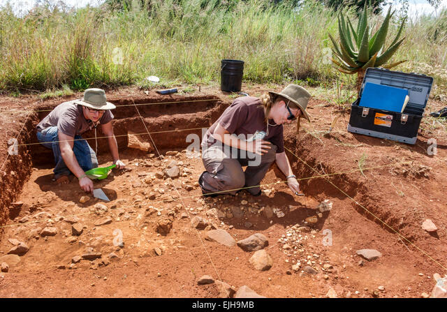 Johannesburg South Africa African Maropeng hominin site human ancestor Cradle of Humankind World Heritage Site archaeologists - Stock Image