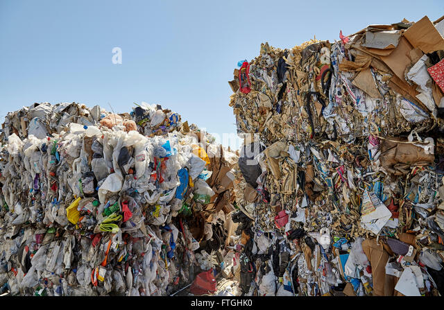 Waste plastic paper bales for recycling and disposal industry - Stock Image