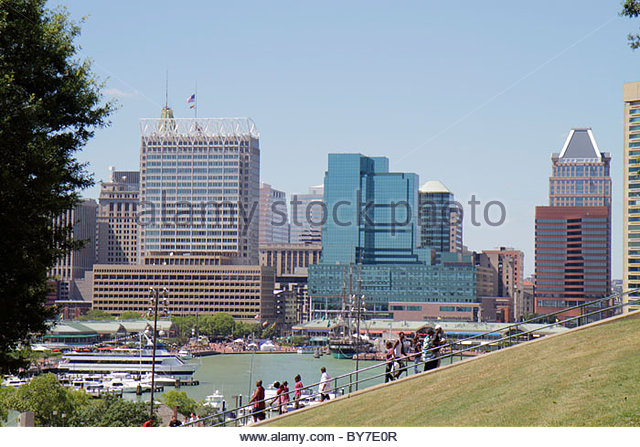 Baltimore Maryland Federal Hill Park Inner Harbor Patapsco River port waterfront skyline office building elevation - Stock Image