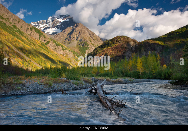 Scenic view of the East Fork of Eklutna River and Bashful Peak, Chugach State Park, Southcentral Alaska, Autumn - Stock Image