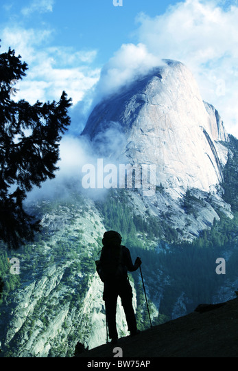 Hike in Yosemite mountains - Stock-Bilder