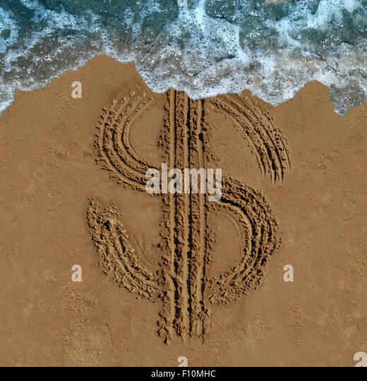 Financial loss business concept as a drawing of a money symbol drawn on a beach being washed out by an ocean wave - Stock Image