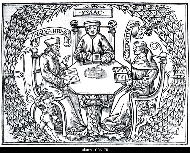 MEDIEVAL MEDICINE French illustration published 1515 showing from left Jewish, Arab and Christian doctors - Stock Image