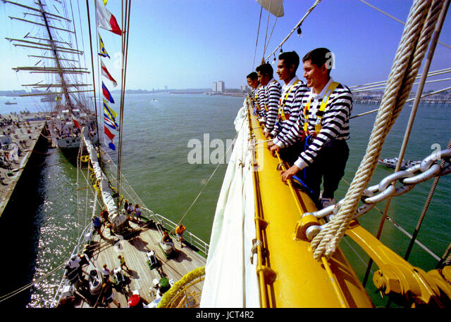 Mexican sailors taking part in the Festival of the Sea when 1,000 sailing ships gathered in Portsmouth Naval Dockyard. - Stock Image
