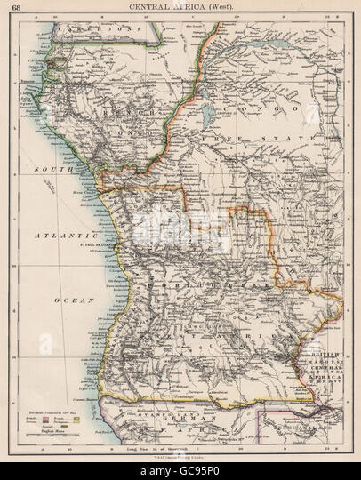 COLONIAL CENTRAL AFRICA. French Congo Free State Portuguese West Af. , 1897 map - Stock-Bilder