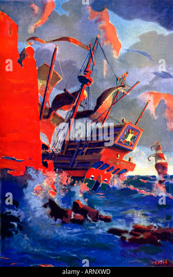 Last Of The Armada Galleons 1930s boys comic book illustration of the end of the Spanish Armada in 1588 - Stock Image
