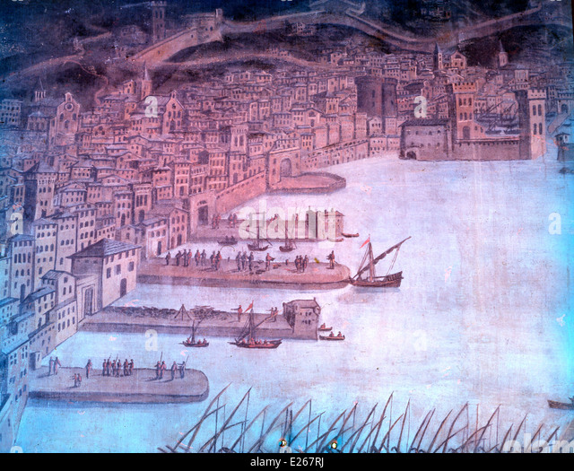 Genoa in the 15th century,tempera of epoch,pegli,Naval Museum - Stock-Bilder