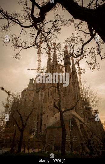 Sagrada Família Cathedral - Barcelona, Spain. - Stock Image