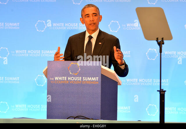 President Barack Obama delivers remarks at the White House Summit to Counter Violent Extremism at the U.S. Department - Stock Image
